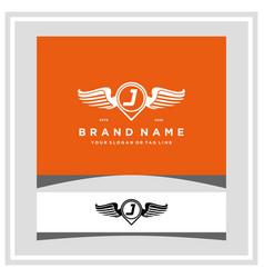 Letter j pin map wing logo design concept vector