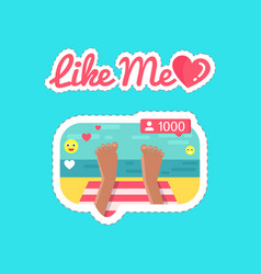 like me social network and streams stickers vector image
