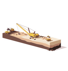 low poly excavators and haul truck vector image