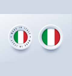 made in italy round label badge button sticker vector image