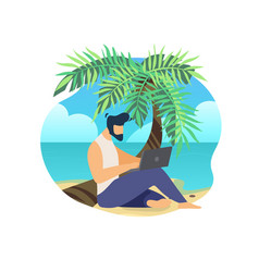 man sitting on palm trunk at beach work on laptop vector image