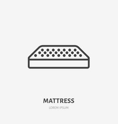 Mattress flat line icon bedding sign thin linear vector