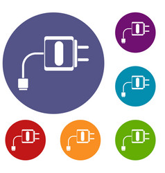 Mini charger icons set vector