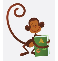 monkey with book vector image