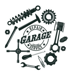 monochrome vintage garage tools round concept vector image