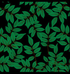natural leaves seamless pattern background vector image