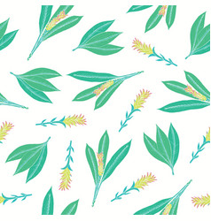 Natural seamless pattern with turmeric leaves and vector