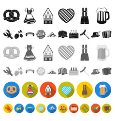 October festival in munich flat icons in set vector
