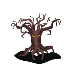 Old spooky tree with yellow eyes and dry bare vector