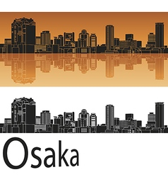 Osaka skyline in orange vector