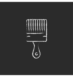 Paintbrush icon drawn in chalk vector