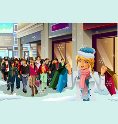 People shopping for christmas vector