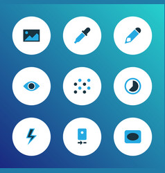 photo icons colored set with image timelapse vector image