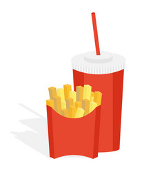 potatoes fries in a red carton vector image