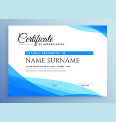 professional blue business certificate design vector image