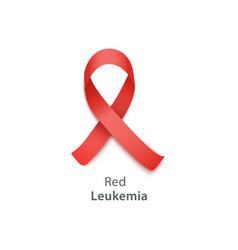 red ribbon for leukemia awareness vector image