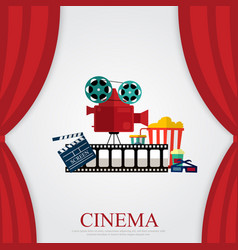Reds curtains and film object with popcorn soda vector