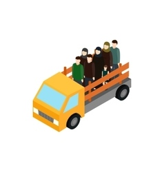 Refugees on truck icon isometric 3d style vector