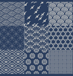 Seamless japanese vintage traditional mesh pattern vector