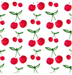 seamless pattern with watercolor cherry endless vector image