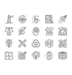 Set creative line icons checklist paper plane vector