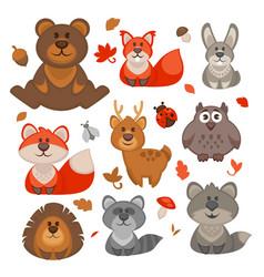 set cute cartoon forest animals vector image