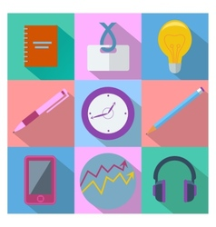 Set of 9 business and office equipment icons vector image