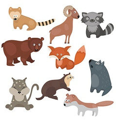 Set of different animals of north america vector