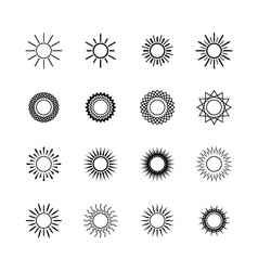 Set of Sun Icons Line Style Design vector