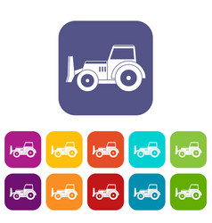 Skid steer loader icons set flat vector