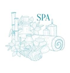 Spa Center Symbols Hand Drawn Realistic Sketch vector