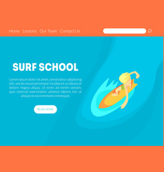 surf school landing page template with space vector image