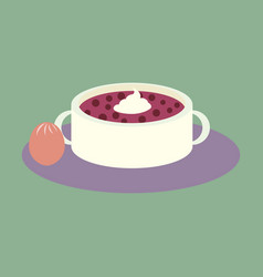 Sweet dessert in flat design bread-soup with dried vector