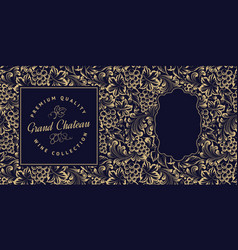 vintage menu card with seamless grape pattern vector image
