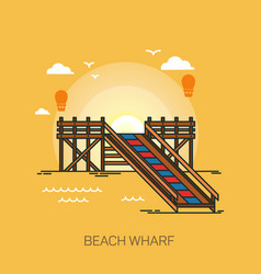 wharf or quay pier or wooden dock on beach vector image