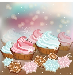 Winter Christmas sweets cupcakes vector