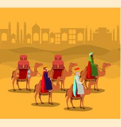 Wise men traveling in the desert christmas scene vector