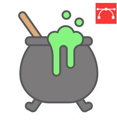 Witch cauldron color line icon halloween and vector