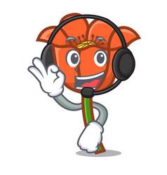 with headphone poppy flower mascot cartoon vector image
