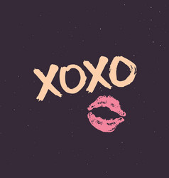 xoxo brush lettering sign grunge calligraphic vector image