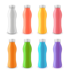 yogurt plastic bottle 3d realistic set vector image