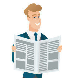 Young caucasian groom reading newspaper vector