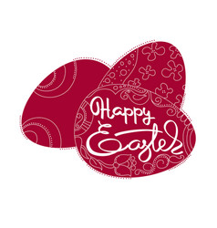 card with dark red eggs and handwritten word happy vector image vector image