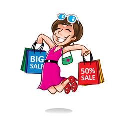 cartoon happy shopper girl vector image