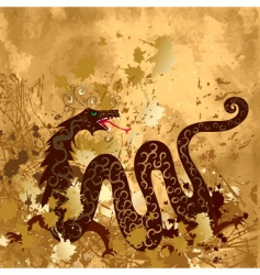 Chinese dragon on paper grunge vector image vector image