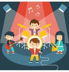 Four kids in a music band vector image vector image
