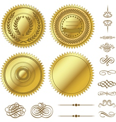 Gold seal set vector