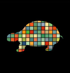 land turtle reptile color silhouette animal vector image vector image