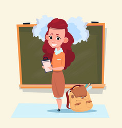 small school girl standing over class board vector image vector image