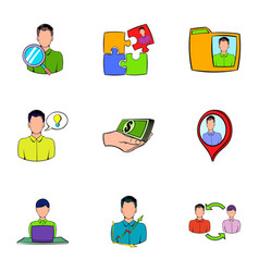 Business relationship icons set cartoon style vector